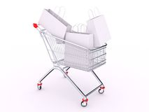 Cart with bags Stock Photography