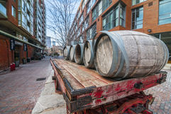 Cart  barrel :Distillery dis. Toronto Canada. The Distillery District is a historic and entertainment precinct located east of Downtown Toronto, Ontario, Canada Stock Photos