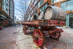 Cart of barrel:Distillery dist. Toronto Canada. The Distillery District is a historic and entertainment precinct located east of Downtown Toronto, Ontario Royalty Free Stock Images