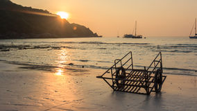Cart. On the beach is a cart on the beach during sunset Royalty Free Stock Images