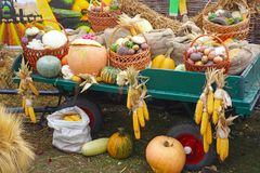 Cart with an autumn harvest of vegetables Stock Photography