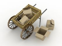 Cart with box Royalty Free Stock Photo