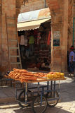 Cart of bread in the streets of Old Jerusalem Royalty Free Stock Photo