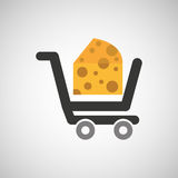 Cart buy delicious cheese food. Vector illustration eps 10 vector illustration
