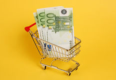 Cart with cash Stock Photo
