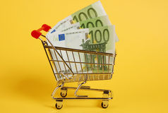 Cart with cash Royalty Free Stock Image