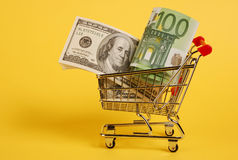 Cart with cash Stock Image