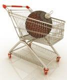 Cart and christmas ball Stock Image