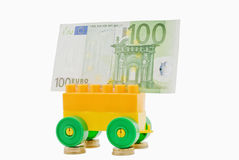 Cart- coins and banknote Royalty Free Stock Images
