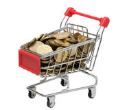 Cart with coins on a white background. Isolated Royalty Free Stock Photos