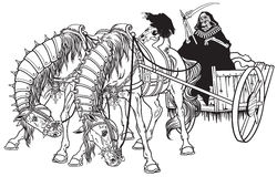 Cart of death. Grim reaper in a cart of death harnessed by two horses . Black and white illustration Stock Photo
