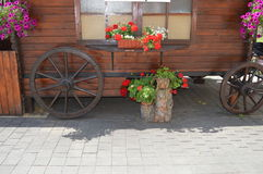 cart  decorated with flowers. Stock Images