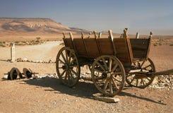 Cart in desert. Cart on road to desert (Syrian desert Stock Photo