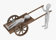 cart det medeltida tecknad filmteckenet Royaltyfri Illustrationer