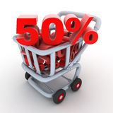 Cart and discount. 50% (done in 3d, isolated Vector Illustration
