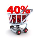 Cart discount 40 Royalty Free Stock Images