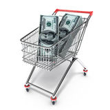 Cart with dollars Stock Photo