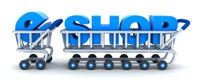 Cart and e-shop Royalty Free Stock Photo