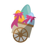 Cart with easter egg bow shadow Royalty Free Stock Photos