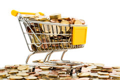 Cart and euro coins. A shopping cart is filled with well-euro coins, symbolic photo for purchasing power and consumption Stock Photography