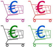 Cart with euro Royalty Free Stock Photos