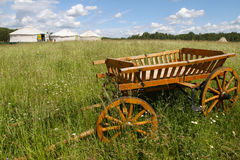 Cart in a field. In Kaluga region (Russia Stock Photos