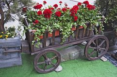 Cart with flowers Stock Photo