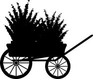 The cart with flowers. Silhouette Stock Photo