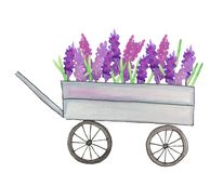 Cart with flowers on a white background vector illustration