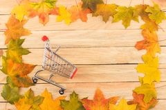 Cart in the frame made from colored maple leaves on the light wooden boards Royalty Free Stock Images