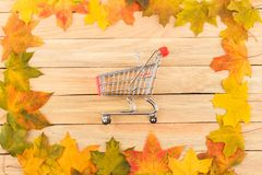Cart in the frame made from colored maple leaves on the light wooden boards Stock Images