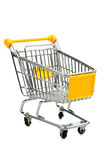 Cart in front of a white background. Cart in front of white background, symbol photo for consumption and purchasing power crisis Royalty Free Stock Images