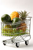 The cart of fruit 2. Purchase of fruit in a supermarket stock photo