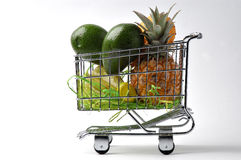 The cart of fruit 2. Purchase of fruit in a supermarket stock image