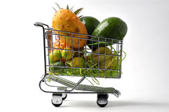 The cart of fruit 4. Purchase of fruit in a supermarket stock photography
