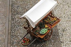 Cart with fruits and vegetables Royalty Free Stock Photos