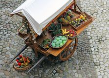 Cart with fruits and vegetables Stock Images