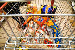 Cart full of Asian snack food Royalty Free Stock Photography
