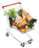 Cart full of food, isolated image on white background Royalty Free Stock Photo