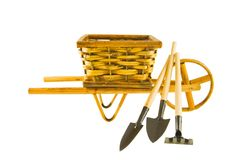 The cart  with garden tools isolated over white Royalty Free Stock Images