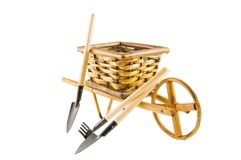 The cart  with garden tools isolated over white Stock Photography