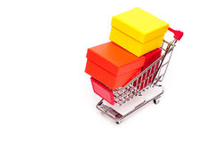 Cart with gift boxes Royalty Free Stock Photography