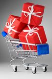 Cart with gifts Royalty Free Stock Photos
