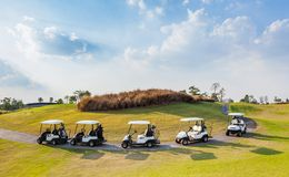 Cart in golf course Royalty Free Stock Photo
