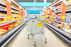 Cart at the grocery store. Supermarket interior, empty shopping trolley. Business ideas and retail trade. Advertising of food products Stock Photos