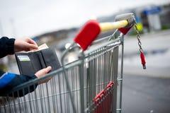 Cart handle. Close up of a shopping cart handle Stock Image