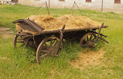 Cart with hay. Medieval Ukrainian transport - a cart with hay (without horses stock photo