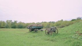 The cart with hay in an old village in Russia stock video footage