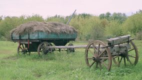 The cart with hay in an old village in Russia stock footage