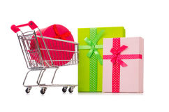 The cart in holiday shopping concept Royalty Free Stock Photography